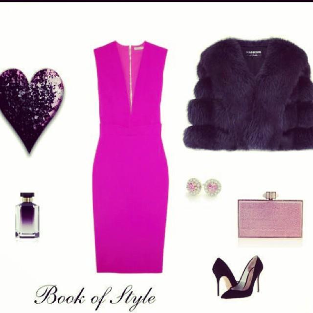#mystyle #victoriabeckhamdress #kurtgeigerpumps #judithlieberclutch #magenta #black #style #inspiration #date #sexy